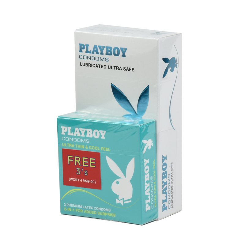 Playboy Lubricated Ultra Safe Condom / Kondom - 12pcs