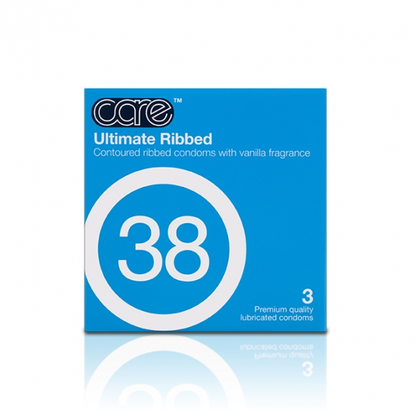 Care Condoms 38 Ultimate Ribbed Condom / Kondom - 3 pcs