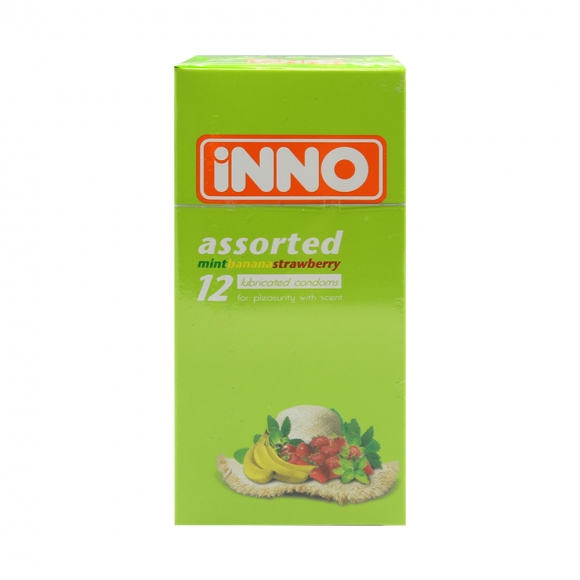iNNO Assorted Flavour Condoms (Mint, Banana, Strawberry) 12's