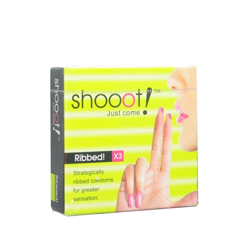 SHOOOT RIBBED Condom / Kondom 3 pcs