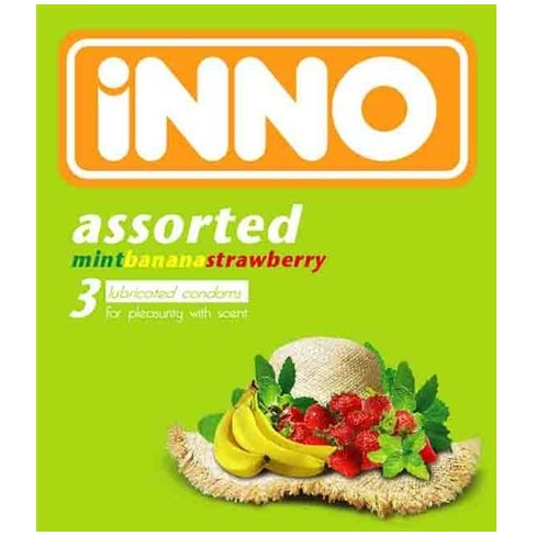 iNNO Assorted Flavour Condom / Kondom (Mint, Banana, Strawberry) - 3 pcs