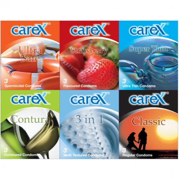 Carex 6 in 1 3Pcs Condom / Kondom Set 18 pcs