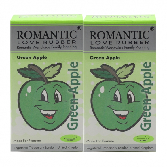 2 Boxes Romantic Love Rubber Aroma - Green Apple - 12's