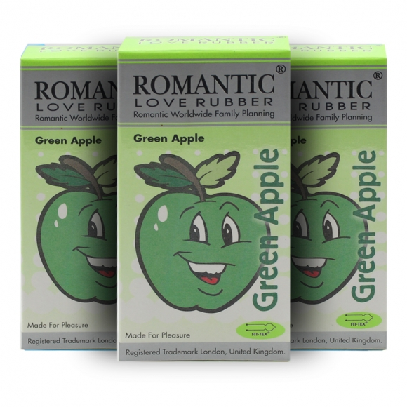 3 Boxes Romantic Love Rubber Aroma - Green Apple - 12's