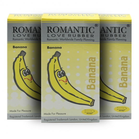 3 boxes Romantic Love Rubber Aroma - Banana- 12's