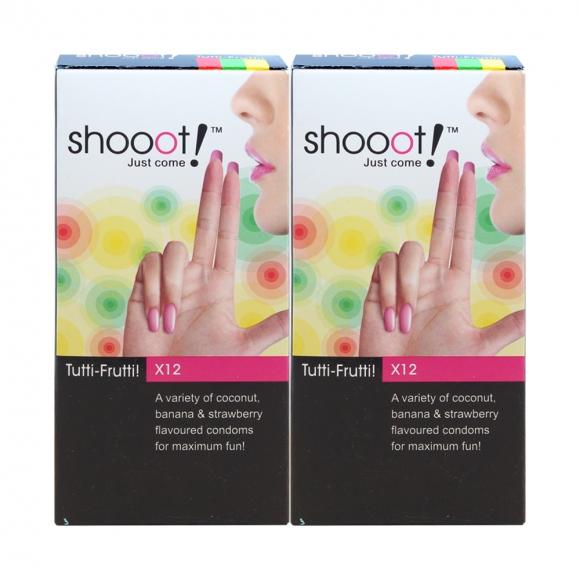 2 Boxes SHOOOT TUTTI-FRUTTI Condom / Kondom 12's