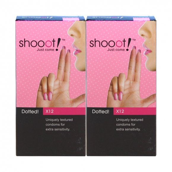 2 Boxes SHOOOT DOTTED Condom / Kondom 12's