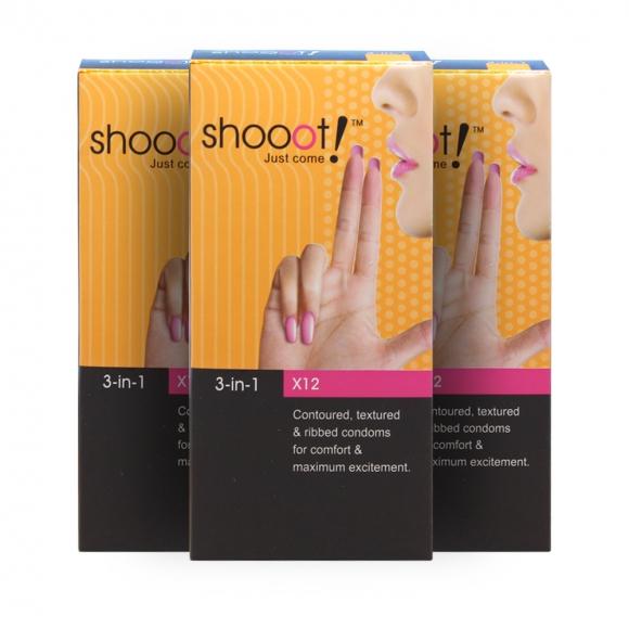 3 Boxes SHOOOT 3 in 1 Condom / Kondom 12's