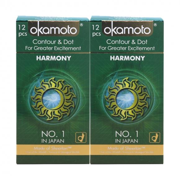 2 Boxes OKAMOTO HARMONY CONTOUR & DOT CONDOM 12'S PACK