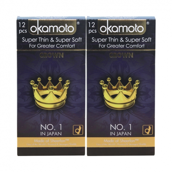 2 Boxes OKAMOTO SUPER THIN & SOFT- CROWN 12'S Pack