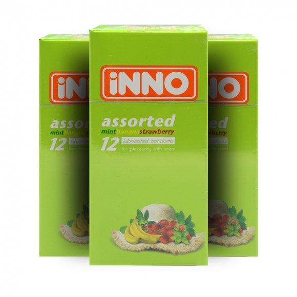 3 Boxes iNNO Assorted Flavour Condoms (Mint, Banana, Strawberry) 12's