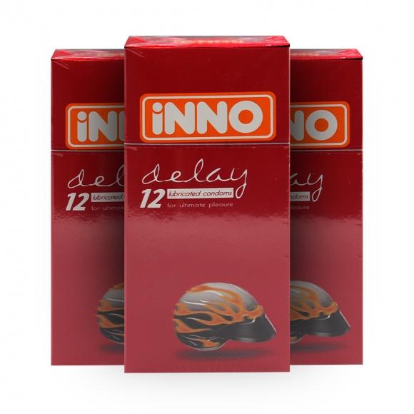 3 Boxes iNNO Delay Condoms (Long Lasting / Long Shock / Tahan Lama) 12's