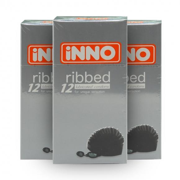 3 Boxes iNNO Ribbed Condom / Kondom (For Unique Sensation) 12 pcs