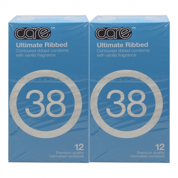 2 Boxes Care 38 Ultimate Ribbed Condom / Kondom - 12's