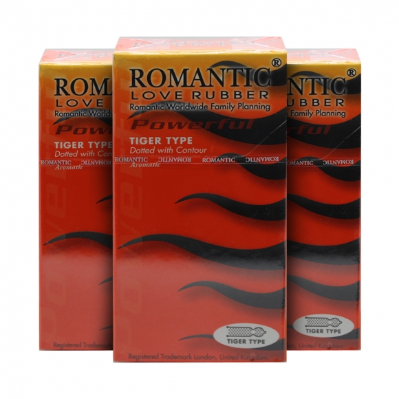 3 Boxes Romantic Love Rubber Quick & Easy Tiger Type - 10's