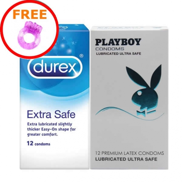 2 in 1 Set: Durex Extra Safe & Lubricated Ultra Safe (24pcs) Free Silicone Vibrator Ring
