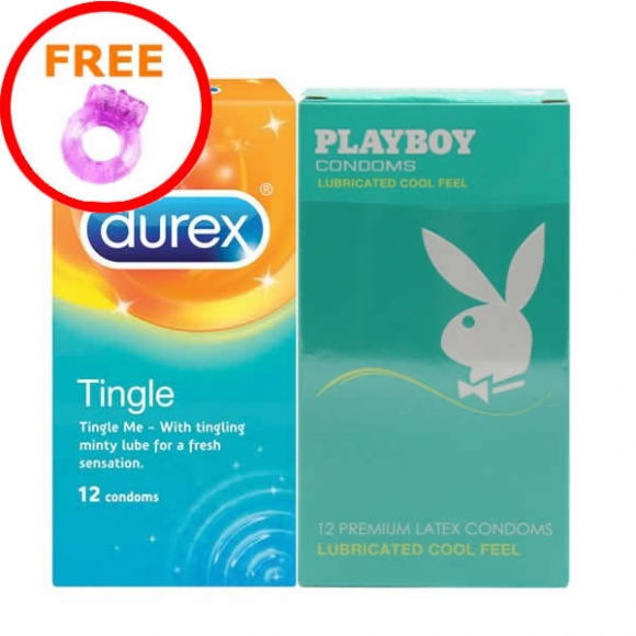 2 in 1 Set: Durex Tingle & Playboy Lubricated Cool Feel (24pcs) Free Silicone Vibrator Ring
