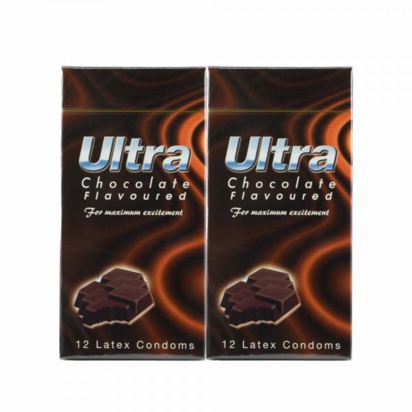 2 Boxes ULTRA Chocolate Flavoured Condom / Konodm - 12 pcs