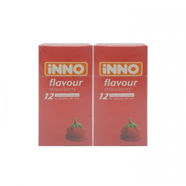 2 x iNNO Strawberry Flavour Condom 12s (For Pleasurity With Taste) Total 24pcs