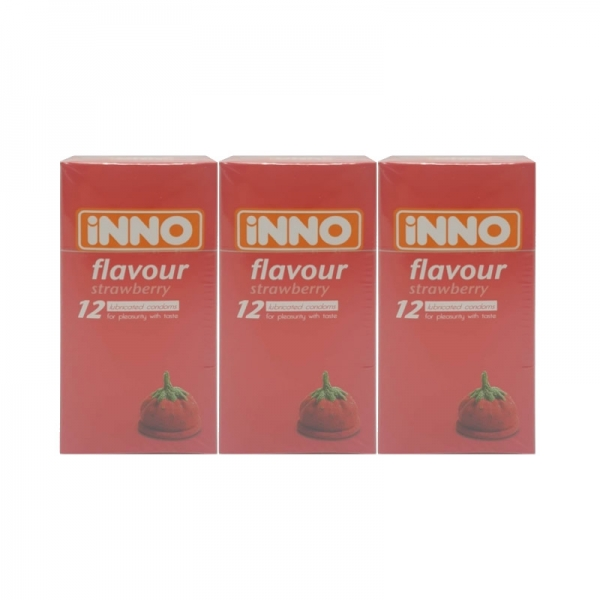 3 x iNNO Strawberry Flavour Condom 12s (For Pleasurity With Taste) Total 36pcs