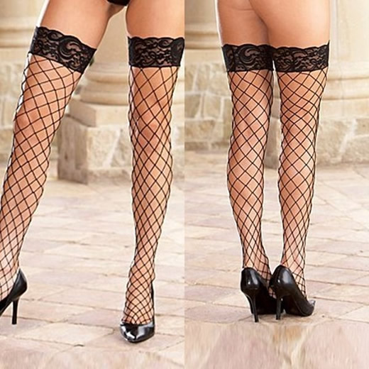 FISHNET LACE STOCKING - Black Colour