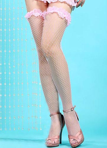 FISHNET LACE STOCKING - PINK COLOUR