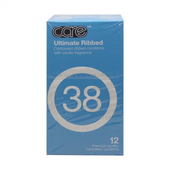 Care 38 Ultimate Ribbed Condom / Kondom - 12's