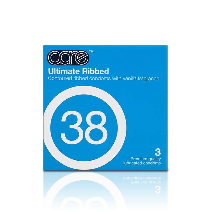 Care 38 Ultimate Ribbed Condom - 3's
