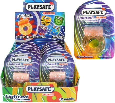 PLAYSAFE LIGHTED VIBRADOM + CONDOM (1 unit)