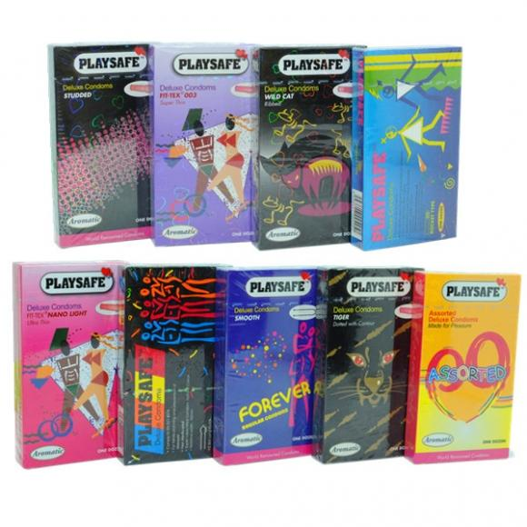 Playsafe 9 in 1 Combo Pack Condom (Kondom), 9 boxes 108 pcs